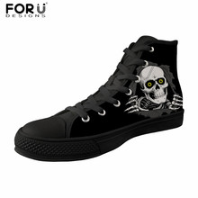 FORUDESIGNS Women Vulcanized Shoes Fashion Black Skull Printing Casual Women High Top Sneakers Flats Canvas Shoes Zapatos Mujer