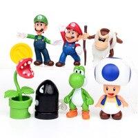 NEW Hot 8cm 8pcs Set Mario Super Marie Luigi Mario Yoshi Action Figure Toys Collection Doll
