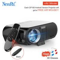 Newpal 3500 люмен, светодиодный проектор GP100 до Full HD Wi Fi Android 4 к проектор 3D беспроводной видео Proyectors с бесплатной 3D очки