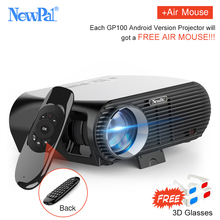 Newpal 3500Lumens LED Projector GP100 UP Full HD WiFi Android 4K Projector 3D Wireless Video Proyectors with free 3D Glasses