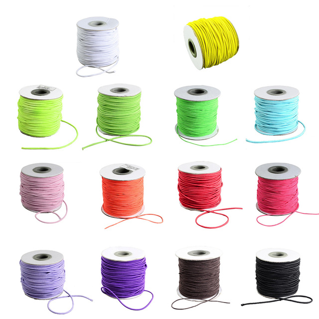 eb99d51b6372 Pandahall 40 m rollo 2mm cable cordón elástico hilo cadena cuerda para  joyería DIY collar