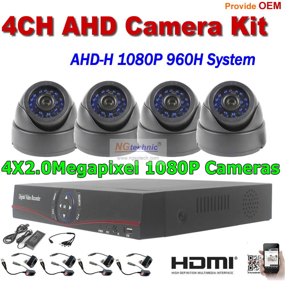 Home security system AHD-H 1080P CCTV Camera Kit 2.0MP Dome indoor surveillance AHD Camera 4CH Video recorder AHD-H 960H DVR Kit keeper 700tvl 4ch home video cctv surveillance system kit for analog camera 2pcs outdoor indoor dome 20m ir security camera