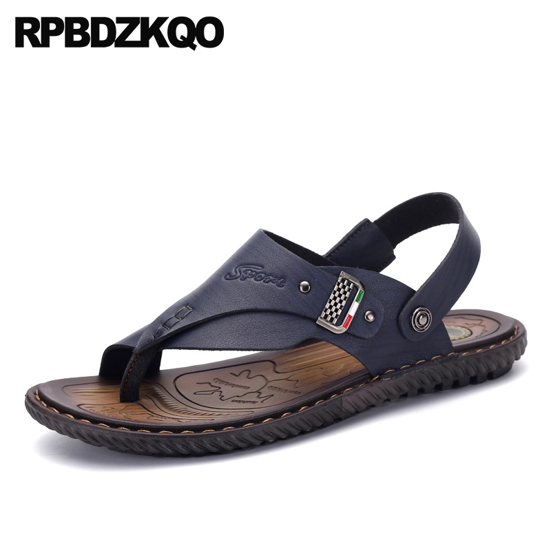 f38d40b63fa Water Brown Toe Loop Runway Slides Fashion Shoes Blue Slippers Waterproof  Slip On Open Men Sandals Leather Summer Strap Sneakers