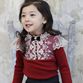 2016 autumn new baby clothes lace flower baby girl clothes long sleeve princess infant girl t shirt white pearl girls blouses