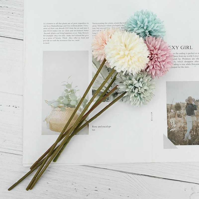 חדש משי כדור חרצית פרח מזויף מלאכותי פרח שן הארי חיצוני גן עיצוב הבית פרח צמח