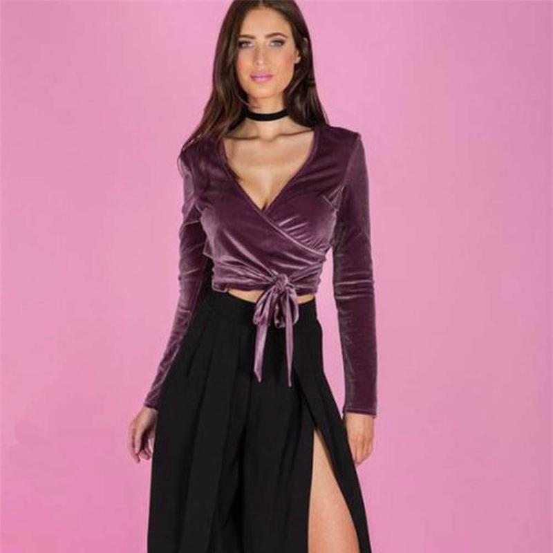 18a37f176035c Autumn Velvet Long Sleeve Bandage Women Tops Sexy Deep V Neck Vintage  Purple Crop Tops Female Slim Bodycon Party Shirt-in T-Shirts from Women s  Clothing on ...