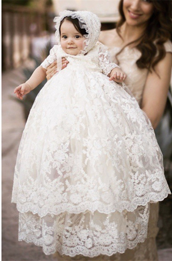 ON SALE Enchanting Christening Dress Baby Girl Baptism Gown Lace Applique WITH BONNET White/Ivory 2017 High Quality Custom