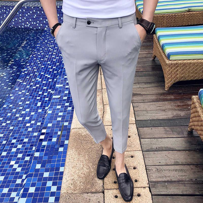 2019 春夏新作新ブティックファッション無地カジュアルビジネスメンズスーツパンツ/男性スリムカジュアル足首長ズボン