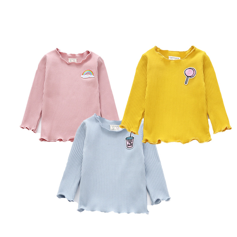 Emmababy Fashion Casual Toddler Infant Newborn Kids Baby Girls Long Sleeve Cotton Print T-shirt Tops Clothing Outfits 6M-4T fashion baby girl t shirt set cotton heart print shirt hole denim cropped trousers casual polka dot children clothing set
