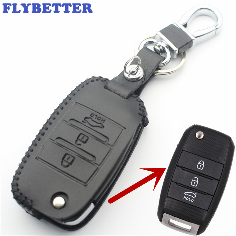 FLYBETTER Genuine Leather 3Button Flip Key Case Cover For Kia Carens/Cerato/Forte/K2/K3/K5/K4 Car Styling L73 flybetter genuine leather 4button keyless entry smart key case cover for kia sorento rio rio5 optima car styling l71