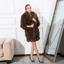 CNEGOVIK new style women's fox fur coat suit collar real fur jacket With genuine leather 85cm