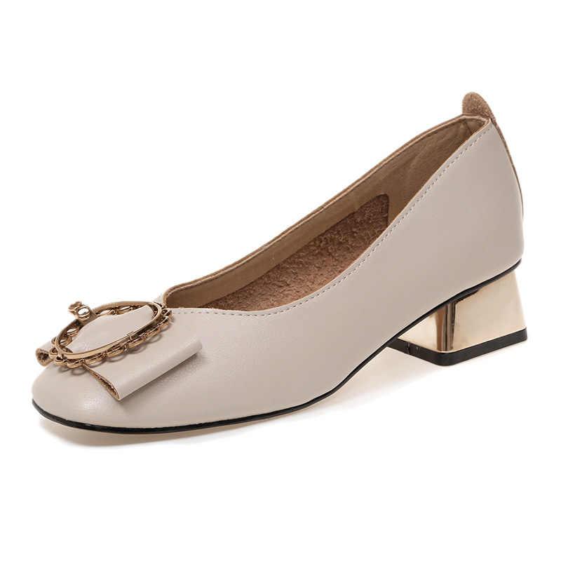 d03912f8ec7 Metal Buckle Italian Shoes Woman Low Heeled Pumps Leather Grandma Shoes  2019 Platform Wedges Women Wedding