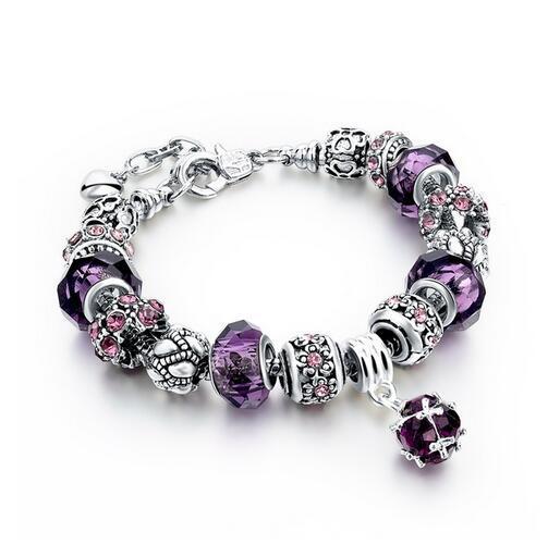Szelam 2017 New Crystal Beads Bracelets Bangles Silver Plated Charm Bracelets For Women Friendship Pulseras SBR160014 4