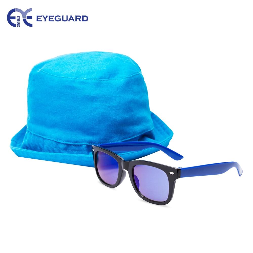 EYEGUARD UV400 Kids Sunglasses Sun Hat Set Glasses for Children Outdoor Cap
