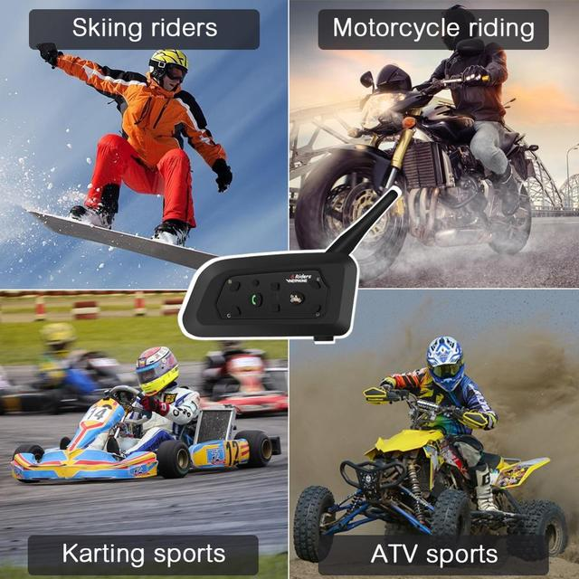 2pcs V6 Motorcycle Intercom Bluetooth Helmet Headsets For 6 Riders Interphone 1200M Wireless Intercomunicador Moto Support MP3 4