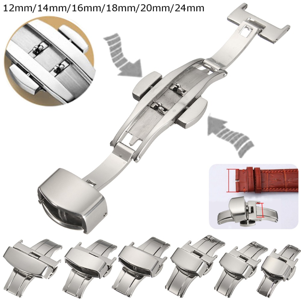 цены на Automatic Double Click Butterfly Buckle Watch Push Button Fold Deployment Clasp Silver Watchband Strap 12/14/16/18/20/24mm в интернет-магазинах