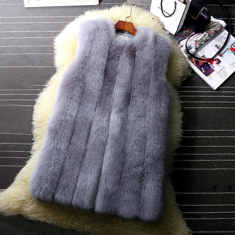 Fourrure Femmes S Hiver Longue Blanc dk Nouvelle Manteau Mode Renard Grey Vêtements lt Fausse De 6xl Gilet Femelle Grey Veste En zpp0XWn