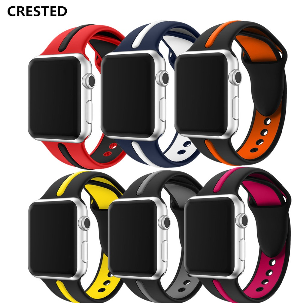 CRESTED silicone sport strap For apple watch band 42mm/38mm iwatch series 3 2 1 Double color rubber wrist bracelet belt correa crested sport band for apple watch 42mm 38mm silicone strap iwatch series 3 2 1 wristband bracelet rubber watchband belt correa