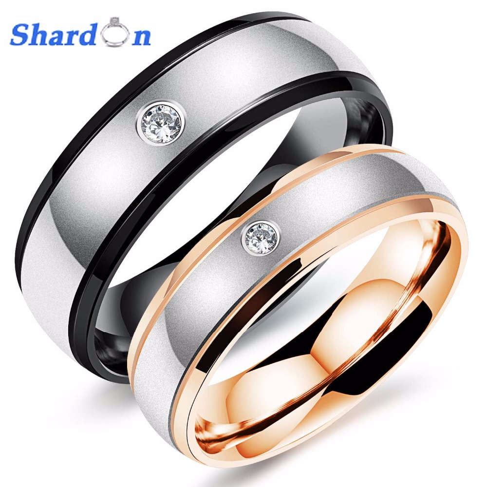 SHARDON IP rose gold and black plated Stainless Steel Ring with Step edge Wedding band Micro Inlay Zircon engagement ring