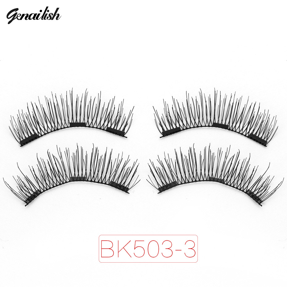 Genailish Magnetic eyelashes 3D false eyelashes with 3 magnets Handmade cilios wholesale Eye Lash Extension-BK503-3