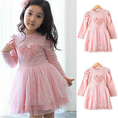 818244dc5bce0 Lovely Girls Princess Flower Dress Kids Baby Long Sleeve Cotton Party  Wedding Pageant Dresses Girls Clothes