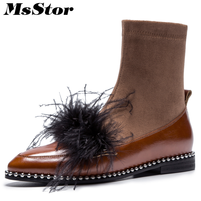MsStor Pointed Toe Low Heel Women Boots Fashion Metal Decoration Fur Ankle Boots Women Shoes Genuine Leather Boots Shoes Woman 2018 new spring summer shoes woman ankle hollow boots metal buckle genuine leather mortorcycle boots low thick heel women shoes