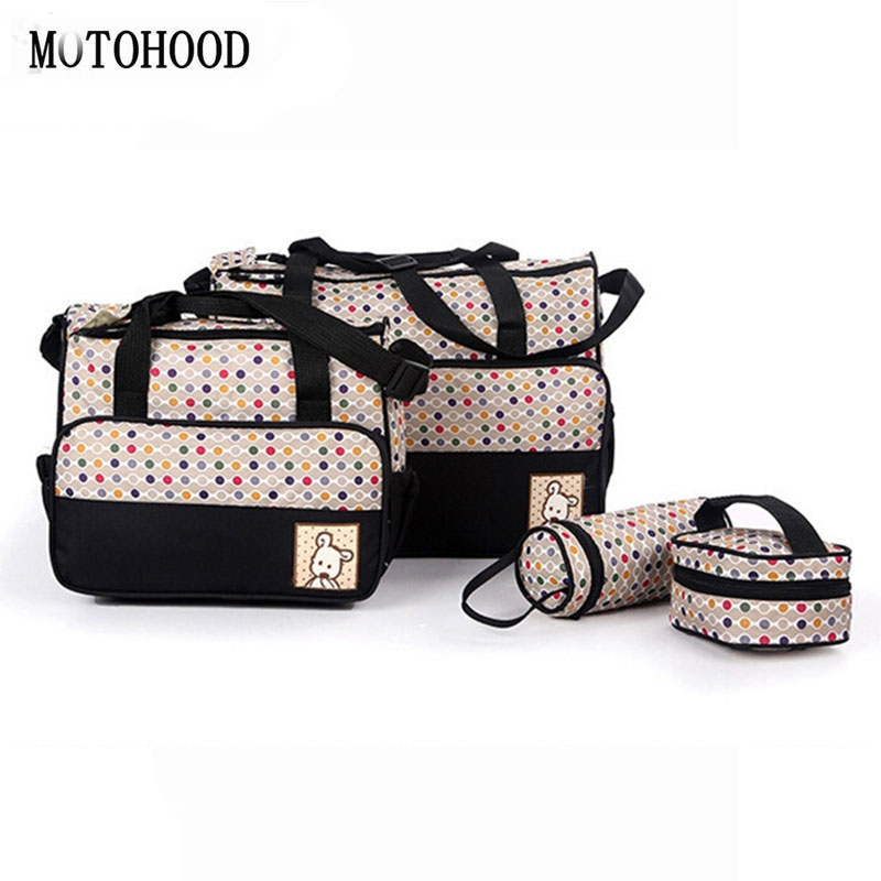 5PCS Suits Mother Baby Bags Multifunctional Nappy Diaper Women Messenger Bags Mummy Food Dot Stroller Maternity Bag For Babys