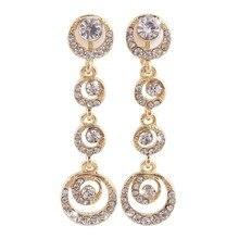 Grace Jun(TM) 2017 Spring Style Long Alloy Rhinestone Moon Clip on Earrings No Pierced for Women Fashion No Hole Ear Clip Gifts