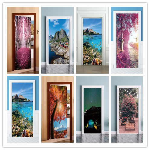 2pcs/set 3D Effect  Seaside Landscape Door Sticker Sliding Gate  Wallpaper Wall Sticker Living Room Home Bedroom Home Decorative