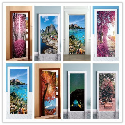 2pcs/set 3D Effect  Seaside Landscape Door Sticker Sliding Gate  Wallpaper Wall Sticker Living Room Home Bedroom Home Decorative