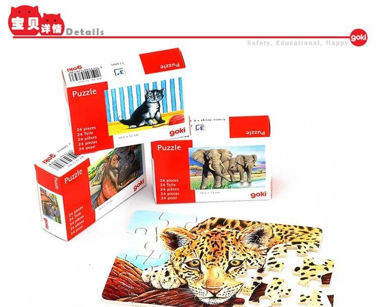 24 PC-uri puzzle-uri din lemn jucării cadou cutie de ambalare / animale drăguț asambla puzzle 16.5 * 12cm, copii copii învățare jucării educative
