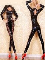 Người phụ nữ bán buôn áo dài tay có cổ jumpsuit, Sexy PVC phù hợp với da, ren lên phù hợp với với ren M7086