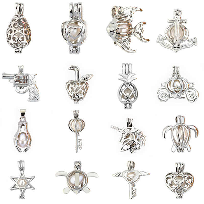 More Than 50styles Pearl Cage Jewelry Findings Cage Locket Pendant Essential Oil Diffuser Locket For Oyster Pearl Women Girl