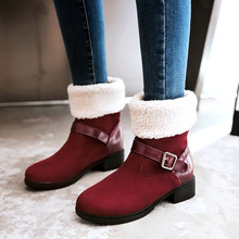 Centenary  Round Toe women winter boots Ankle red Bonded Leather shoes