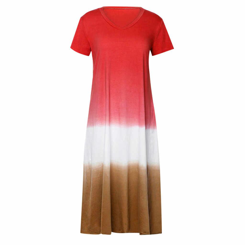 JAYCOSIN для женщин; Большие размеры на каждый день градиент окрашенный вручную Цвет блок свободные V образным вырезом короткий рукав длинный Maxi Dress Vestidos дропшиппинг 702