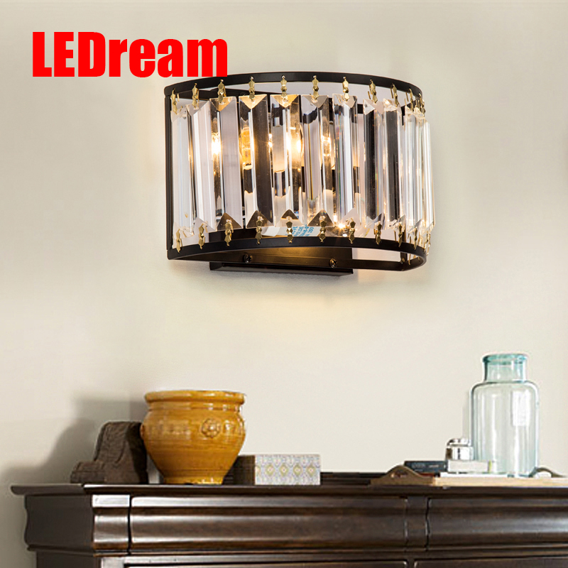 LEDream American country wall lamp of bedroom the head of a bed, Jane Europe French toilet crystal lens headlight sitting room american creative fashion led the study bedroom mirror before the long arm of the head of a bed wall lamp wrought iron long arm
