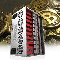 Crypto Coin Open Air Mining Frame Rig Graphics Case ATX Fit 12 GPU Ethereum ETH ETC ZEC XMR Magnalium Alloy 12cm Fans