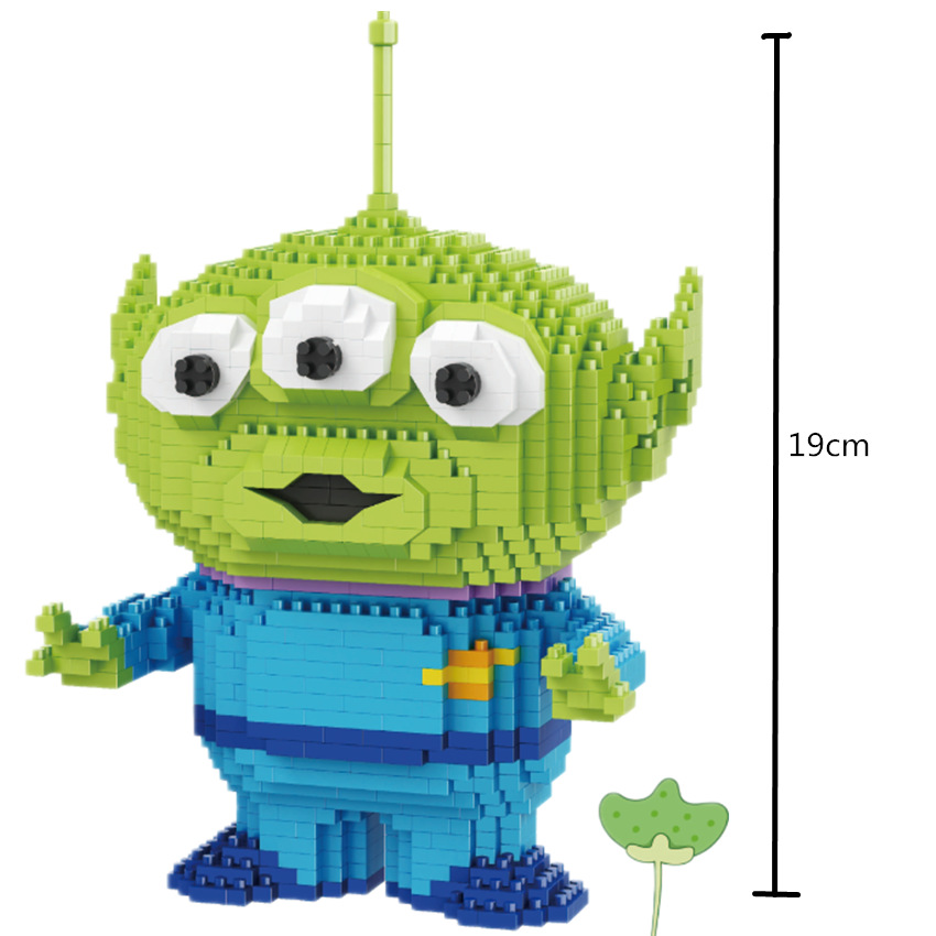 Mini Blocks Big size Cartoon Model Aliens Building Toy Anime Auction Figures Micro Bricks Brinquedos Toys for Children Gift 1500 2200 pcs big size plastic cute cartoon designs of mini nano blocks diamond mini block toys for children diy game