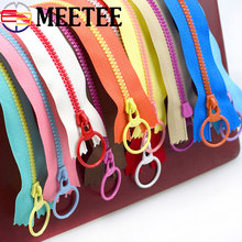 MEETEE 10pcs 3# Multicolor O Ring Puller Resin Zipper Close-end Zippers for Bag Garment Sewing Zips DIY Accessory Craft A2-1