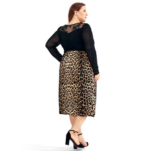 Vintage Plus Size Leopard Straight Midi Skirt for Women