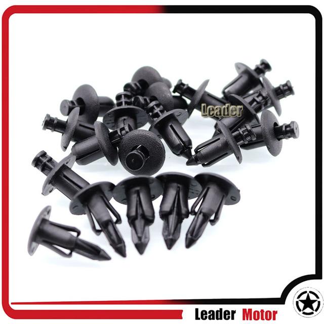 For Honda, Yamaha, Suzuki, Kawasaki ATV Motorcycle Accessories Nylon Fairing Trim Panel Fasteners Clip Rivets 20pcs 6mm Black