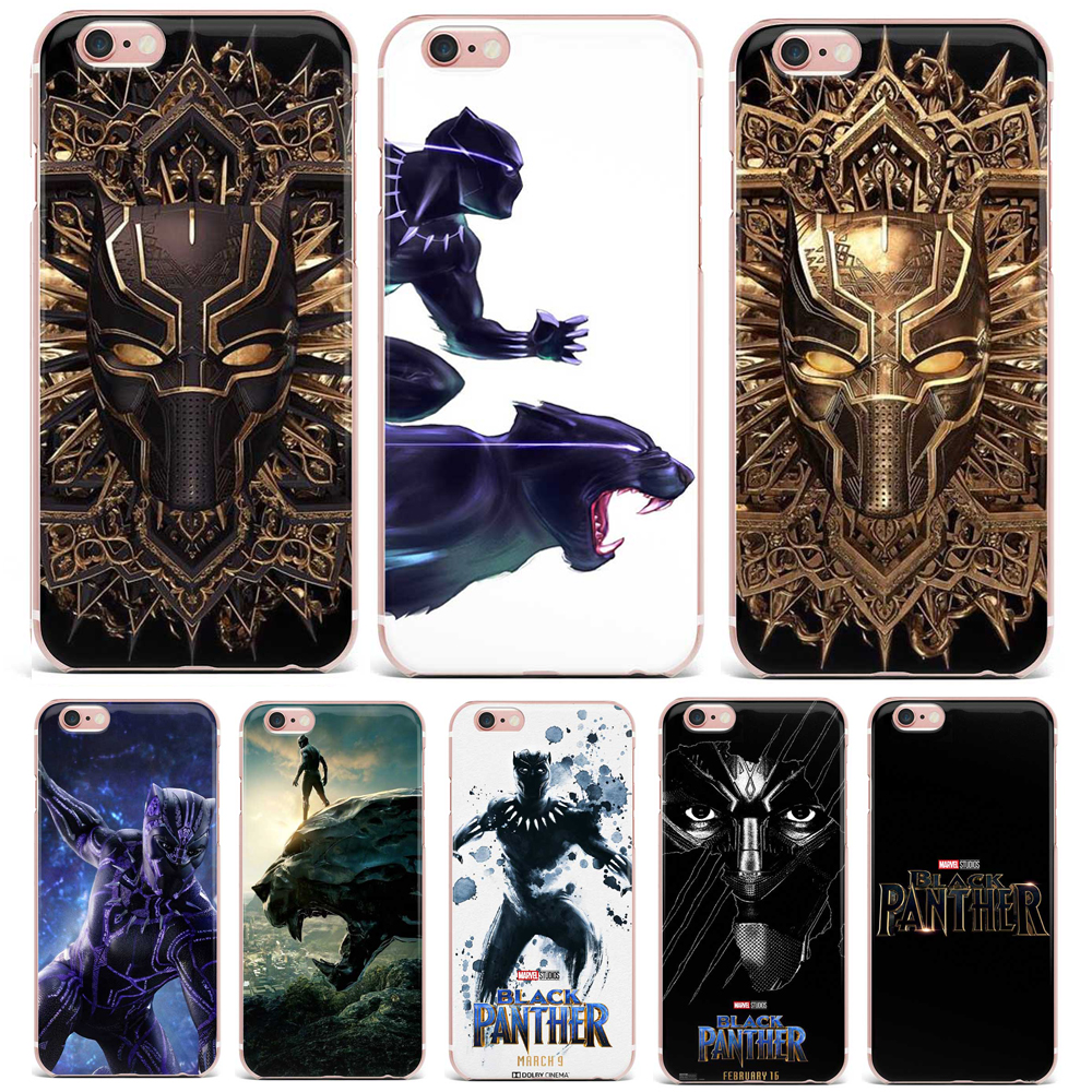 Case For SamSung Galaxy S6 S7 Edge S8 Plus Phone Case Animal Patterned Hot Screening Movie Black Panther Soft TPU Clear Vintage