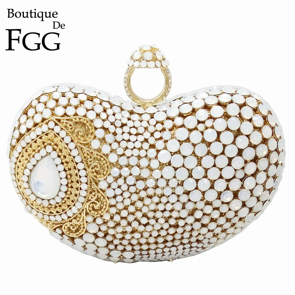 Dazzling Women Evening Bag Soild White Hollow Knucklebox Crystal Diamond Heart Wedding Box Clutch Handbag Metal Clutches Purse gold plating floral flower hollow out dazzling crystal women bag luxury brand clutches diamonds wedding evening clutch purse