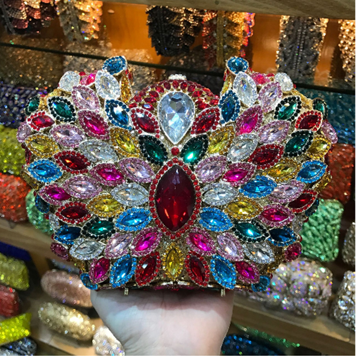 colorful Crystal Clutch Bag Female blue/gold Evening Bags Diamond Studded Handbags Women Wedding Bridal Party Prom mini Purse цена