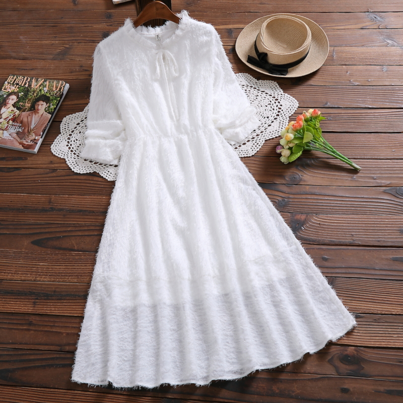Mori Girl Elegant Sweet White Chiffon Dress 2019 Spring New Fashion Bow Long Sleeve Women Midi Fluffy Dress