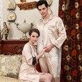 Пара шелковые пижамы множеств Loungewear пижамы дизайн пижама тонкий шелковый ночные сорочки женская кружева глубокий V шеи колен рубашки