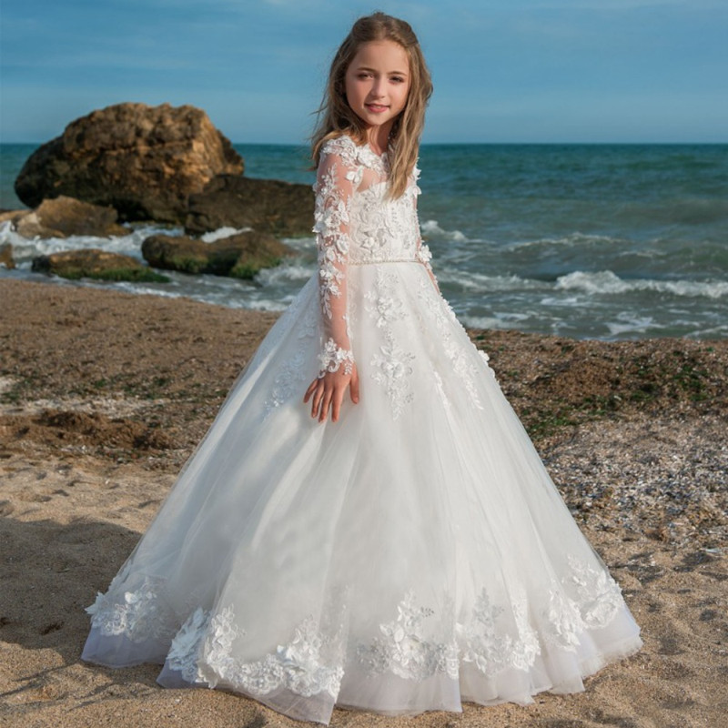 Lace Embroidery White Tulle Kids Trailing Gowns   Flower     Girl     Dress   Kids Wedding Pageant   Dress