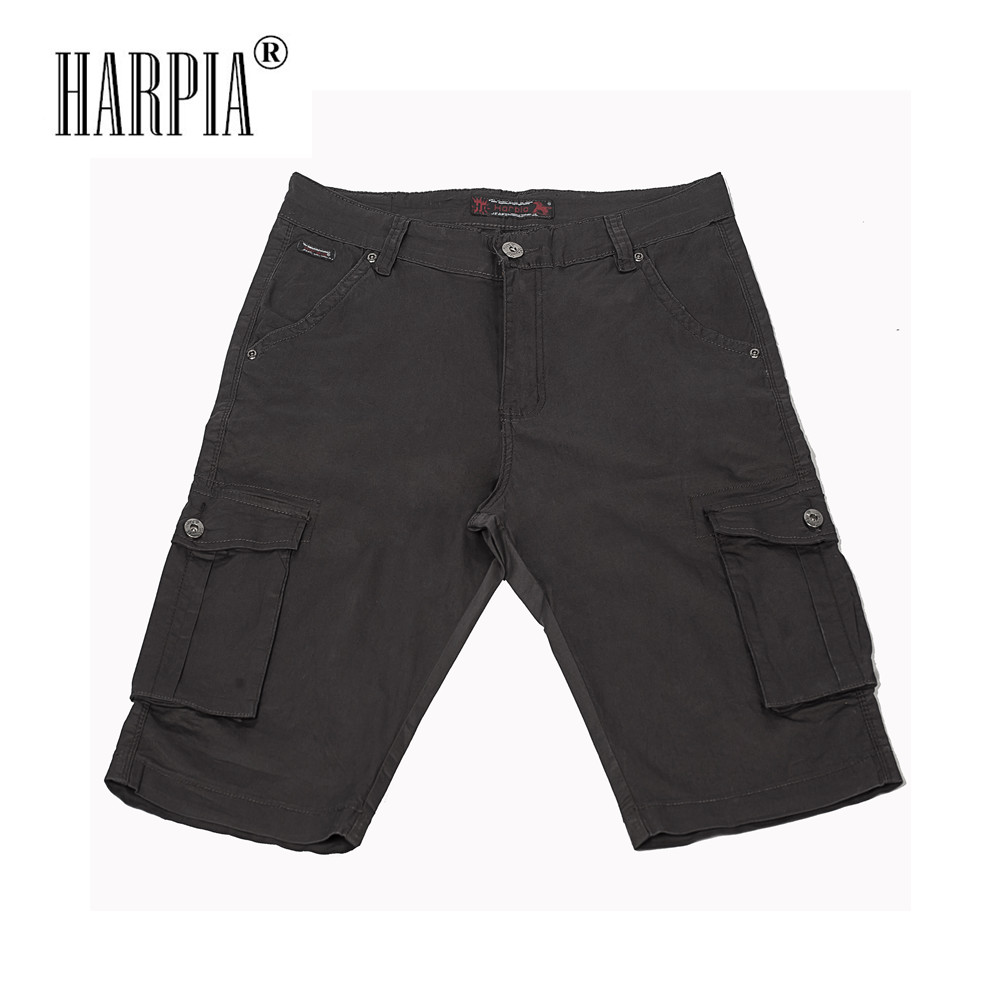 HARPIA High Quality Cotton Multi-pocket Mens Casual Cargo Shorts Summer New Stretch Slim Male Knee Length Short Pants Plus Size