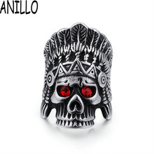 ANILLO Feather Crown Indians Chief Skeleton Skull Mens Red Stone Eye Ring  Punk Gothic Vintage Silver 233a0de7b