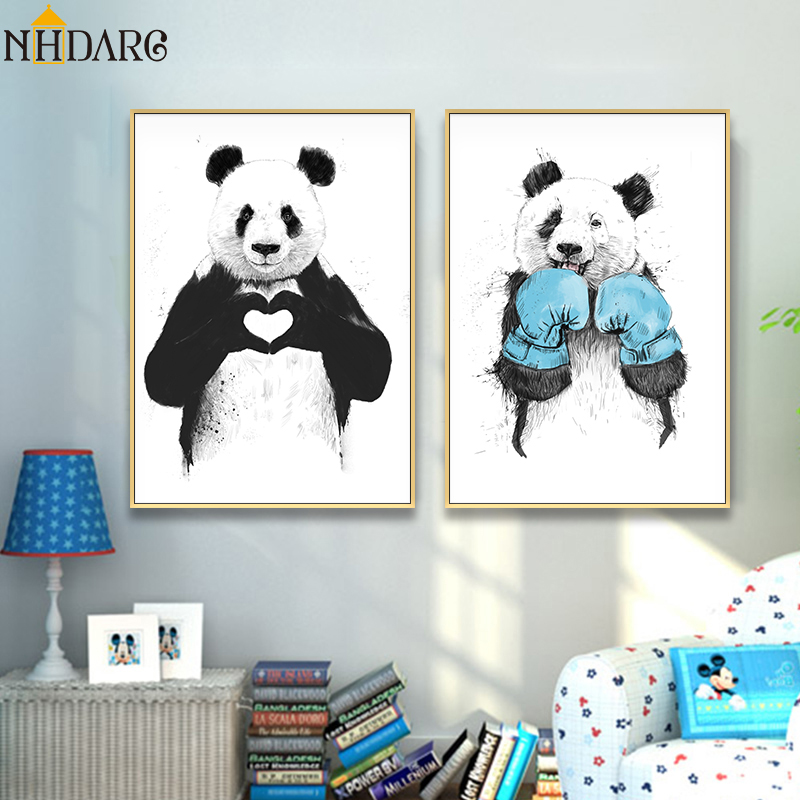 Lovely Animals Cute Panda Heart Loves Posters And Prints Nordic Wall Art Painting Pictures Decorative For Living Room Home Decor